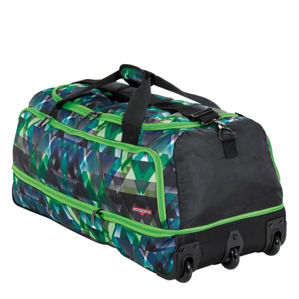 Hardware Move It Reisetasche 85 cm 3 Rollen grün-schwarz - Schrägansicht mit Rollen
