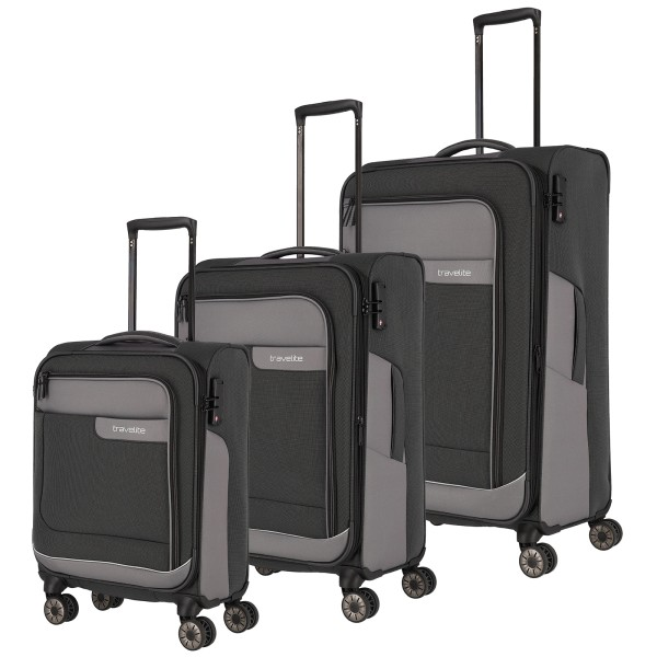 travelite Viia Trolley Set 55/67/77 cm 4 Rollen schiefer