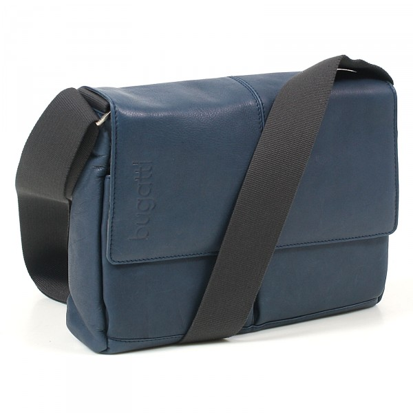 Bugatti John D. Messenger Bag 32 cm blau - Vorderansicht mit Gurt