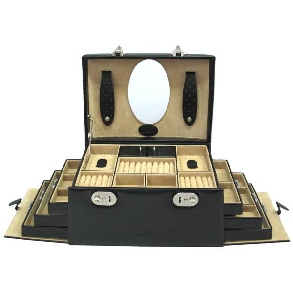 Windrose Merino Schmuckkoffer seitlich aus Feinsynthetik schwarz