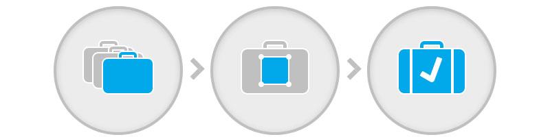 Drei einfache Schritte zum Kongigurieren des Koffers