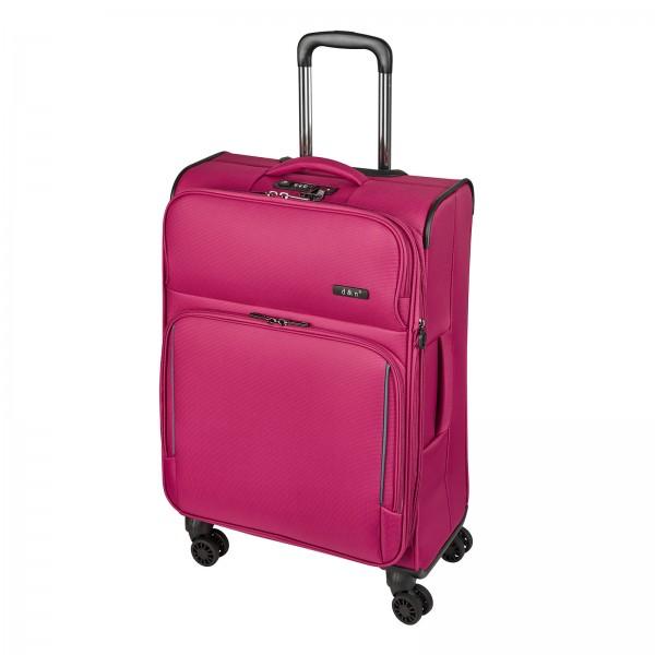 d&n Travel Line 7904 Trolley 66 cm 4 Rollen erweiterbar pink Schrägansicht