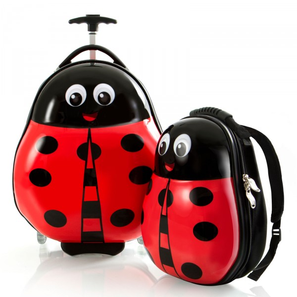 Heys Kids Travel Tots Kindertrolley 46 cm 2 Rollen mit Rucksack Lady Bug Frontansicht