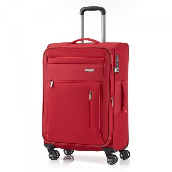 travelite Capri Trolley 66 cm 4 Rollen erweiterbar rot Schrägansicht