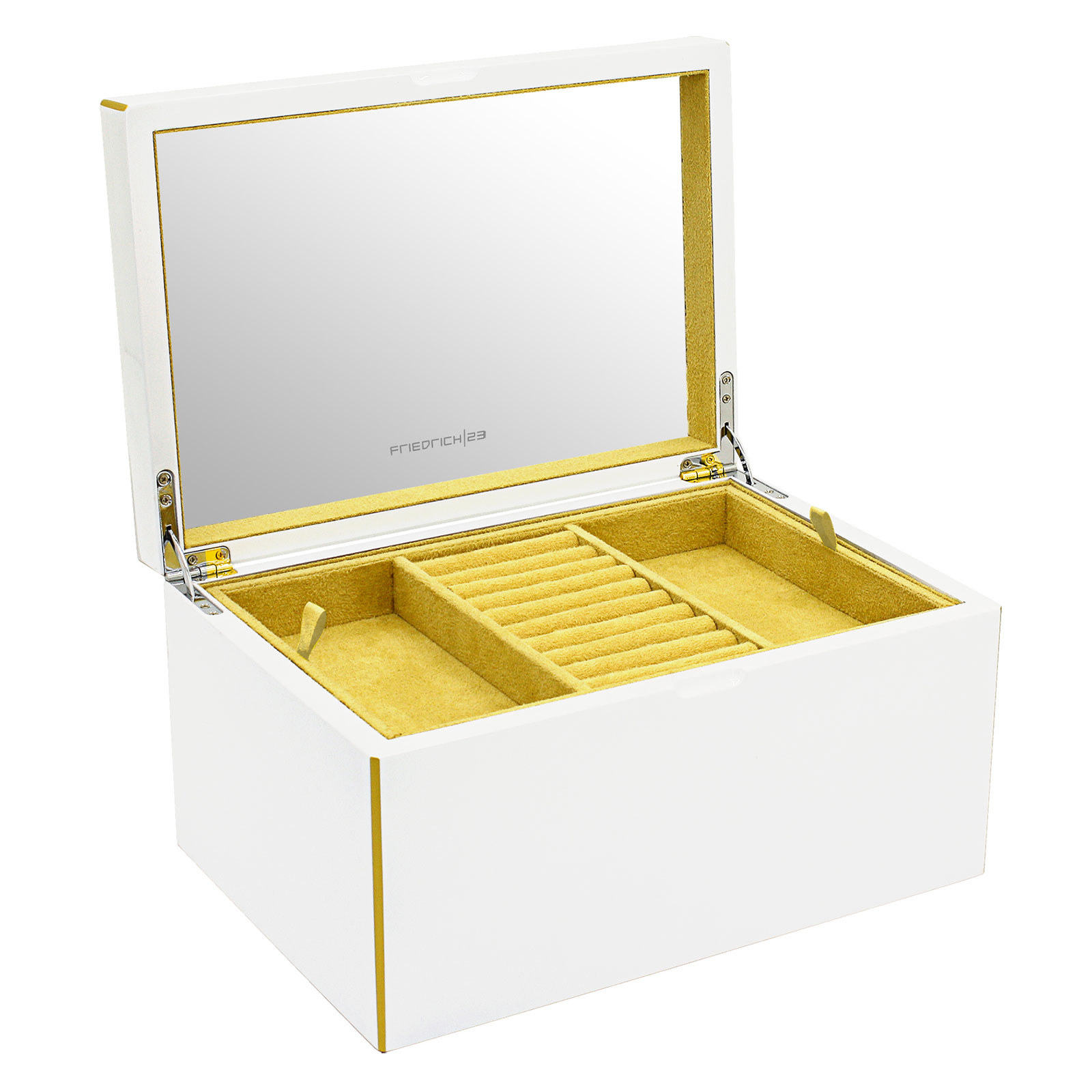 Friedrich|23 Keep Calm Schmuckkoffer groß aus Holz - Weiß 28001-1