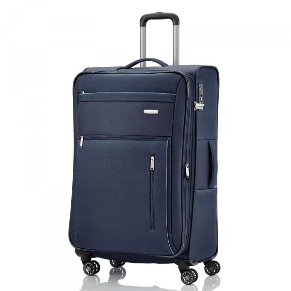 travelite Capri Trolley 76 cm 4 Rollen erweiterbar blau Frontansicht