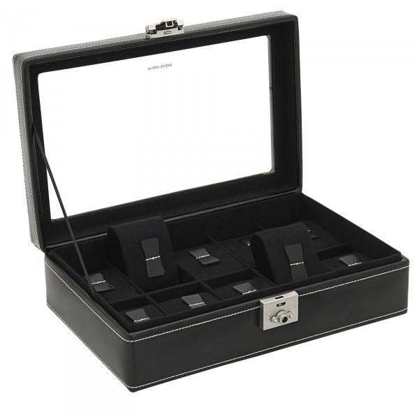 Friedrich|23 London Leder Uhrenkoffer für 10 Uhren, Glas