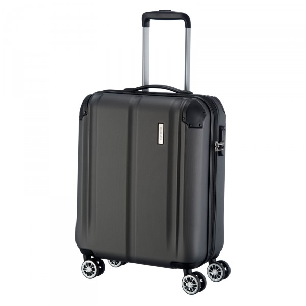 travelite City Kabinentrolley 55 cm 4 Rollen anthrazit Schrägansicht