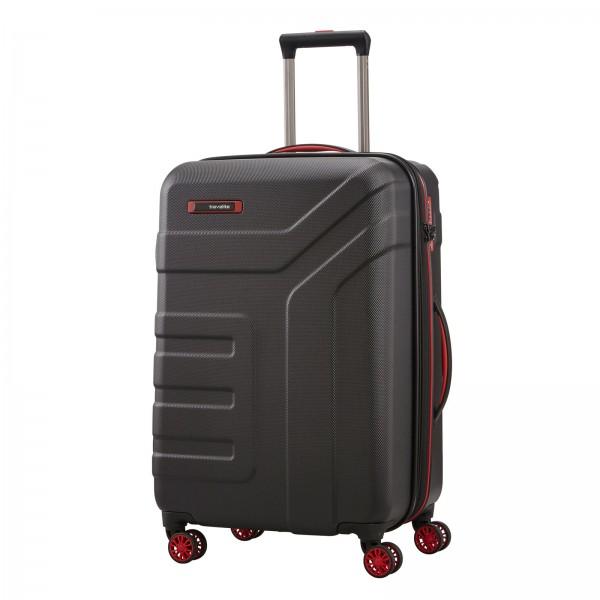 travelite Vector Trolley 70 cm 4 Rollen erweiterbar schwarz Schrägansicht