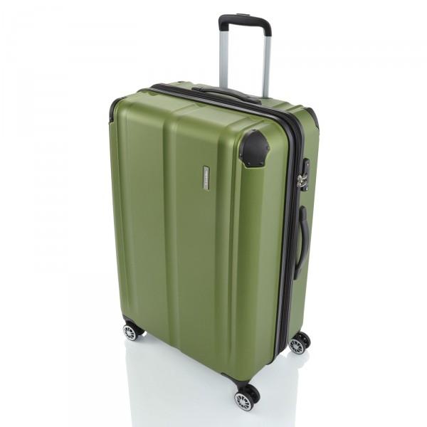 travelite City Trolley 77 cm 4 Rollen erweiterbar grün Schrägansicht