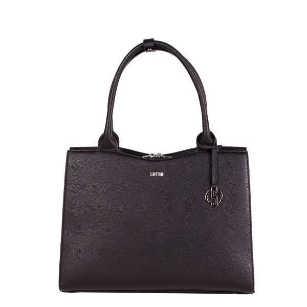 SOCHA Business-Handtasche Straight Line Midi 39 cm deep black Frontansicht