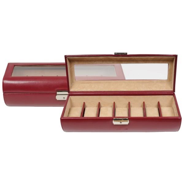 Windrose Merino große Uhrenkassette aus Feinsynthetik rot