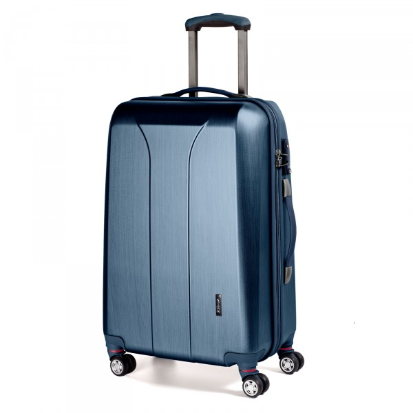 March15 New Carat Trolley 65 cm 4 Rollen navy brushed Schrägansicht