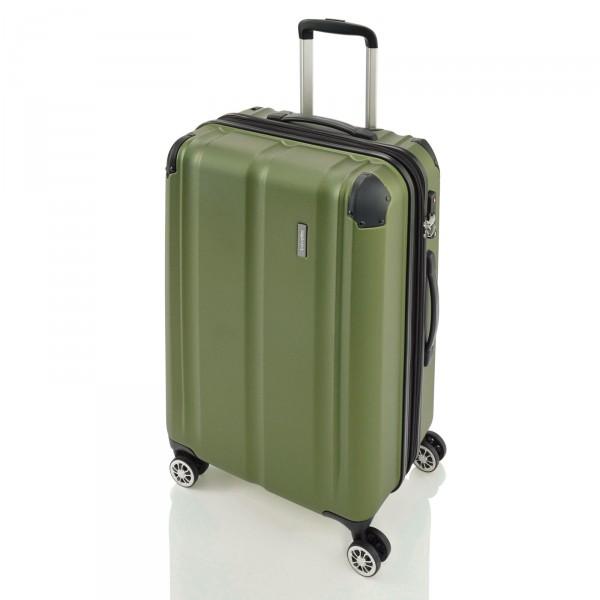 travelite City Trolley 68 cm 4 Rollen erweiterbar grün Schrägansicht