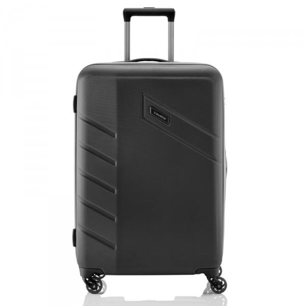 travelite Tourer Modell 2017 Trolley 68 cm 4 Rollen erweiterbar schwarz Frontansicht