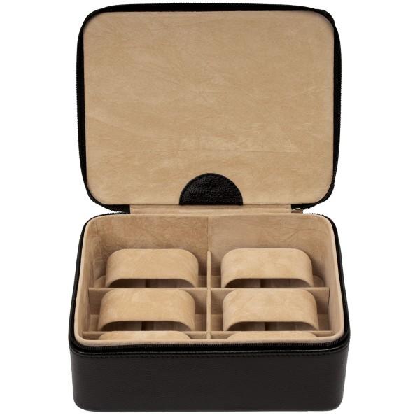 Windrose Beluga Schmuckkoffer aus Leder schwarz