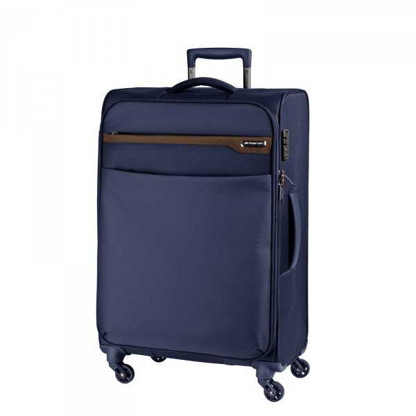 March15 Lite Trolley 67 cm 4 Rollen navy/ cognac - Frontansicht
