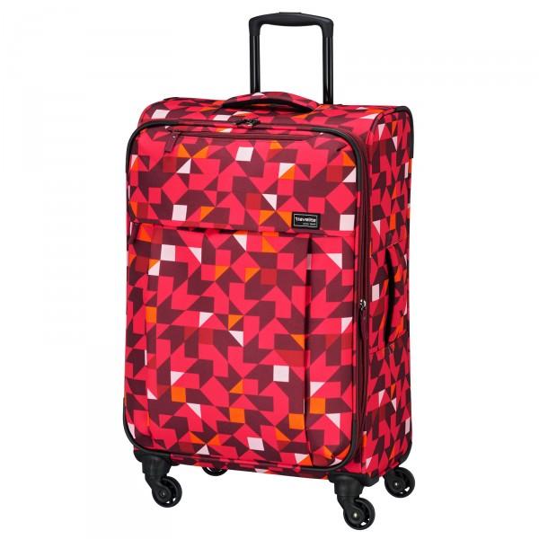 travelite Campus Quadro Trolley 67 cm 4 Rollen erweiterbar pink Schrägansicht