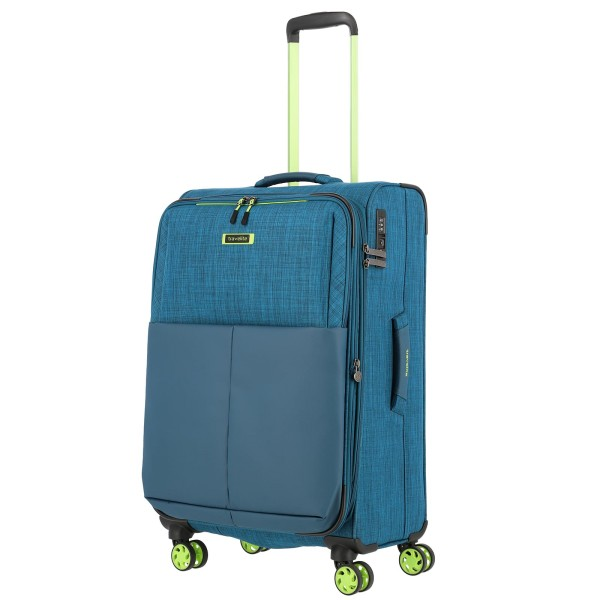 travelite Proof Trolley 68 cm 4 Rollen erweiterbar petrol