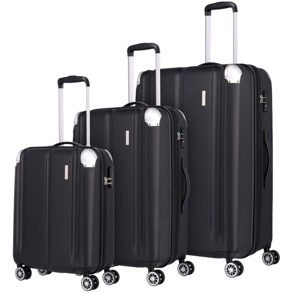 travelite City Trolley Set 3-teilig L/M/S 4 Rollen erweiterbar