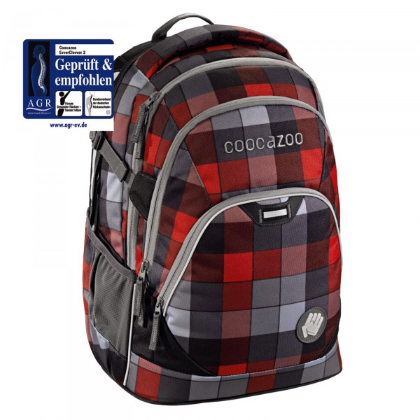 Coocazoo EvverClevver 2 Rucksack 45 cm Red District - Frontansichtmit AGR-Siegel