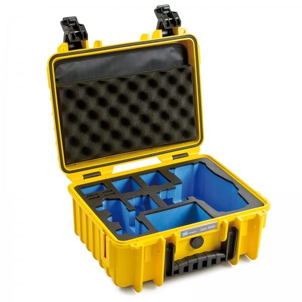 B&W Copter Case Typ 3000 für  DJI Mavic 2 (Pro/Zoom) yellow Innenansicht leer