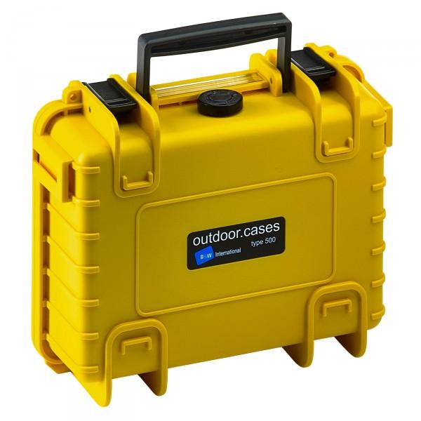 B&W Outdoor Case Typ 500 gelb - vorderansicht