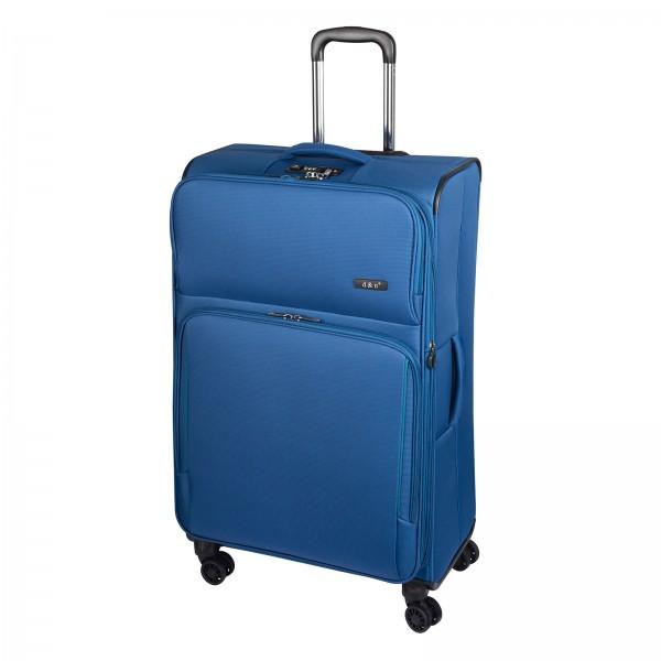 d&n Travel Line 7904 Trolley 78 cm 4 Rollen erweiterbar blau Schrägansicht