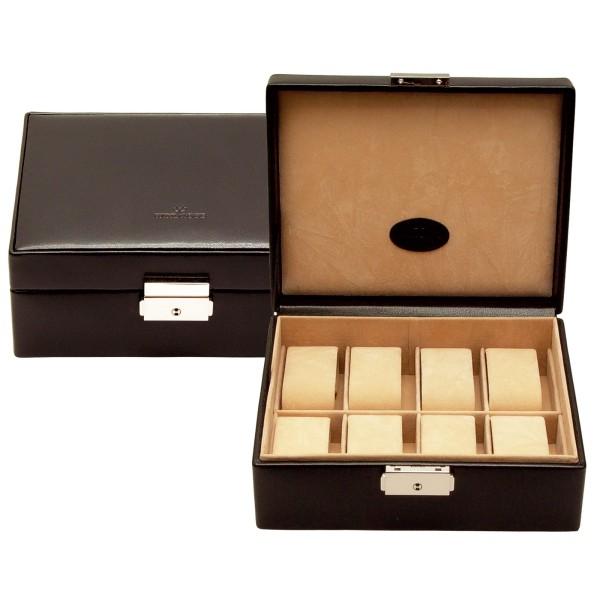 Windrose Merino kleine Uhrenkassette aus Feinsynthetik schwarz