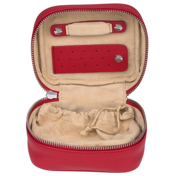 Windrose Soft kleines Schmucketui aus Leder rot
