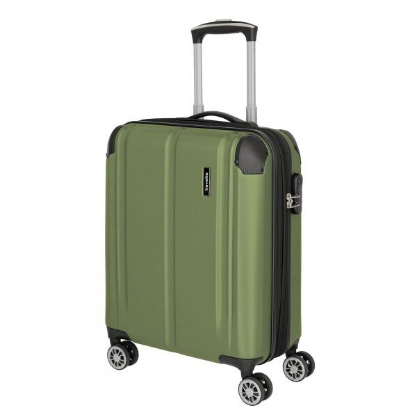 travelite City Kabinentrolley 55 cm 4 Rollen erweiterbar grün Schrägansicht